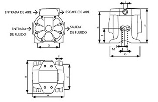 Rysunek techniczny pompy DF50T