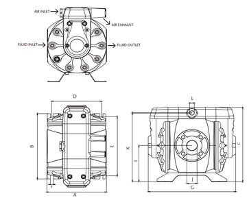 Schemat techniczny pompy membranowej DF250