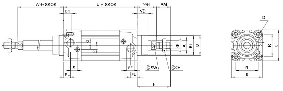 Siłownik Flowmatik FMS-P - rysunek techniczny
