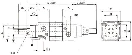 Isoline siłownik dwutłoczyskowy