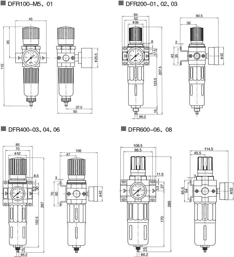 Przygotowanie psprężonego powietrza, filtro-reduktory ciśnienia